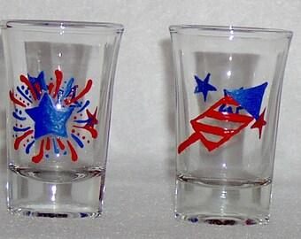 Patriotic - Fireworks Shot Glasses Hand Painted - Set of 2