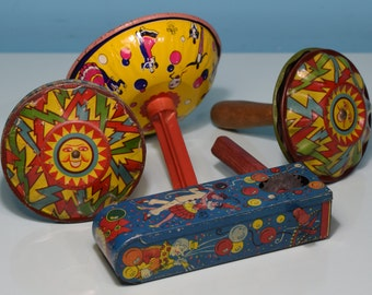 Lot Of 4 Antique Noise Makers New Years Eve Party Time Vintage Wood Handle Fun Plus Bonus