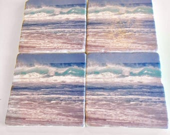 Stone Coasters, Coasters, Marble Coasters, Marble Coasters with cork backing, Beach Coasters,Ocean Coasters