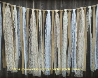 Rustic Charm Barn Wedding Burlap and Lace Garlands, Swag, Rag Tie Backdrop, Lace Curtain, Shabby Chic hanging wedding decoration, backdrop