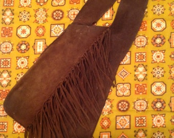 Vintage Brown Fringe Leather Bag