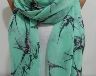 Bird Scarf Mint Scarf Bird Print Scarf Animal Infinity Scarf Summer Scarf Women Fashion Accessory Gift For Her Gift For Women For Mom Wife