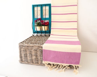 Purple Striped Turkish Towel,Purple Cotton Towel,Purple Towel,Purple Striped Peshtemal,Purple Stireped Beach Towel,Bath Towel