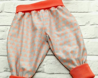 Baby girls trousers, 6-9 months, Grey and coral baby clothes, baby clothing, girls pants, harem pants, children's clothes, summer outfit,