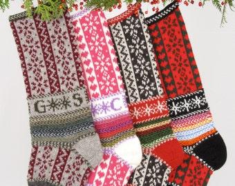 Hand-knit Christmas Stocking, Skiing