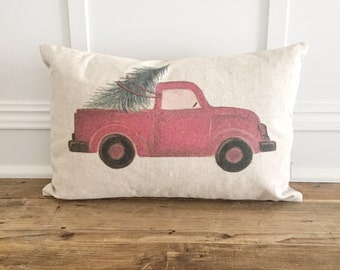 NO WORDS Red Truck Pillow Cover