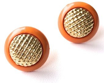 """Old Hollywood """"Betty"""" Orange & Gold Studs. FAST Shipping with Tracking for US Buyers. Earrings will arrive in a Gift Box tied with a Ribbon."""