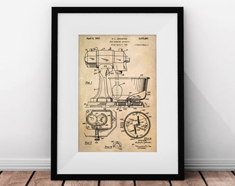 Mixer Patent, Bakery Decor, Kitchen Art, Patent Poster, Printable Kitchen Art, Vintage Kitchen Art, Cake Art, Bakery Prints, Kitchen Patent