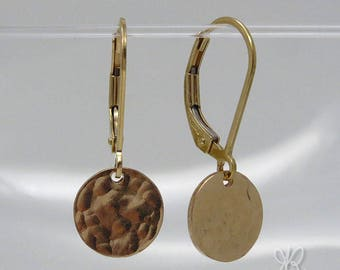 14k gold filled textured disc earrings & leverback