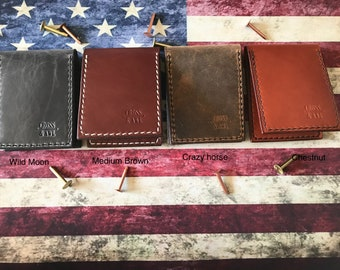 Leather wallet, slim wallet, card wallet, money clip wallet, flip wallet, small wallet, minimalist wallet