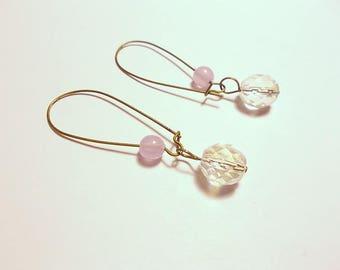 A bronze charm, Czech crystal AB, purple glass beads