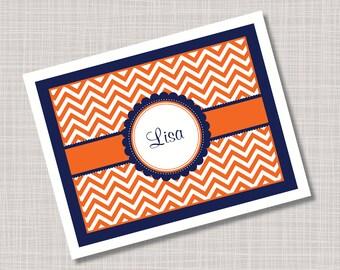 Custom Orange & Navy Blue Chevron Note Cards