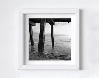 Black and white photo print - Tybee Island pier photograph - Large ocean wall art - Square beach print - Minimalist modern art - 8x8+ inches