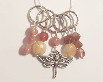 Pink tourmaline and rutilated quartz dragonfly stitchmarkers