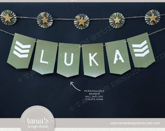 Army - Toy Soldier - Happy Birthday Name Banner - Printable - by Tania's Design Studio