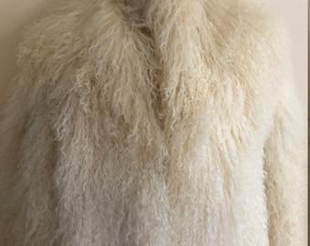 Overland Outfitters MONGOLIAN COAT Tibetan  Lamb Long Fur Coat White Size XL
