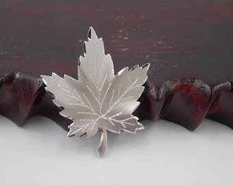 Vintage Sterling Silver Canadian Maple Leaf Pin or Brooch By  Forstner in Canada