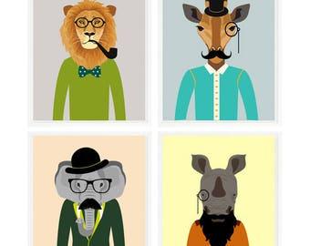 Hipster Animal Prints, Safari Animals, Animals With Clothes, Baby Boy Nursery, Animals Glasses, Elephant, Giraffe, Lion, Animal People