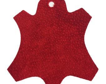Premium Garment Grade Pig Suede Leather Hide 0.5mm Avg 7-9 sqft - Red
