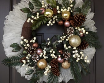White Brown Christmas Wreath Palm Branches Pine Cones White Berries - Elegant Christmas! - Great Gift!