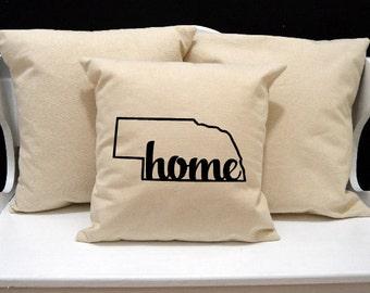 Nebraska Home Pillow, Nebraska Pillow, home pillow, pillow gift, Nebraska gift, Envelope Pillow Cover, state pillow, NE pillow, 20x20 pillow