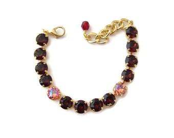 Swarovski Crystal Bracelet - Burgundy and Rose Peach Glacier Blue Tennis Bracelet, Rhinestone Bracelet , Great Gift