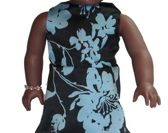 "18"" Doll Clothes Sleeveless Knee Length a-line Dress in Black & Aqua Floral print with rhinestones"