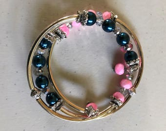 Cotton candy Pink and blue pearl memory wire bracelt