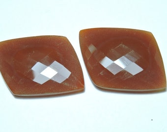 2 Pieces Gorgeous Natural Red Onyx Faceted Fancy Loose Gemstone Size 30X25 MM