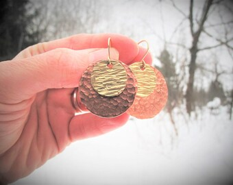 Large Disc Earrings, Hammered Earrings, Boho Statement Earrings, Handmade Mixed Metal Disc Earrings, Gold and Copper Dangles, Gift for Her