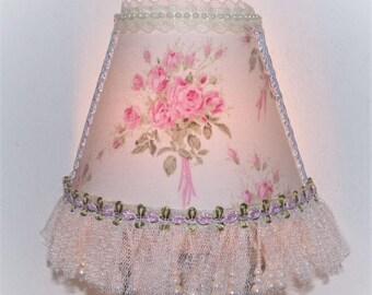NEW French Inspired Cottage Chic Style Pink Shabby Roses NIGHT LIGHT White Rolled Roses Teardrop Pearls Tulle