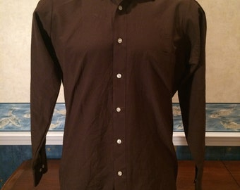 Polyester Dress Shirt - 1970s - Brown - Mens - Large - Van Heusen Super Silk - Casual Wear - Modern Look, Vintage Feel