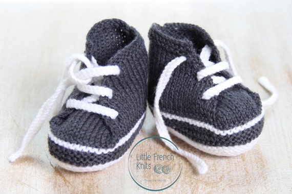 Baby Sneakers / Knitting Pattern Baby Instructions in French Instant Digital Download PDF / Size Newborn - 3 months