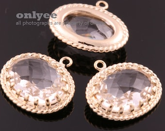 2pcs-16mmX17mmGold Faceted Victorian style oval framed glass pendants(M315G-A)