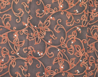 Karakusa Arabesque Flowers with Berries, Vintage Wool Japanese Kimono