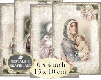 Shabby Chic Madonna Child 6 x 4 inch Instant Download digital collage sheet Holy Religious D238