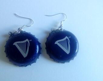 Blue Harp Bottle Cap Earrings