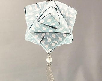 Light Blue and White Patterned Handmade Origami Christmas/Holiday Ornament with Silver Leaf