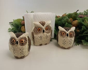 Vintage Napkin Holder and Salt & Pepper Set | Owl Theme, Kitschy Kitchen, Owl Kitchen Set, Owl Salt and Pepper Shakers, Kitchen Decor