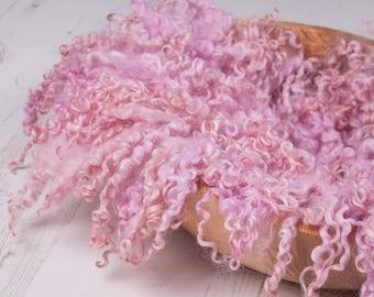 "MINI Felted Curls, ""Seashell Pink"", basket stuffer, wool fluff, newborn prop, natural merino wool - baby pink."