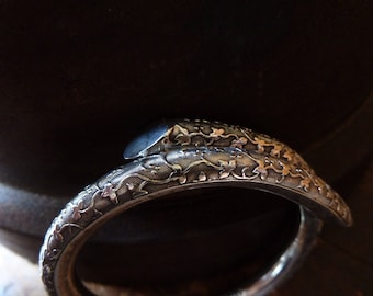 stunning rare victorian antique hinged cuff bracelet 1890 / antique sterling silver cuff bangle bracelet / engraved bangle