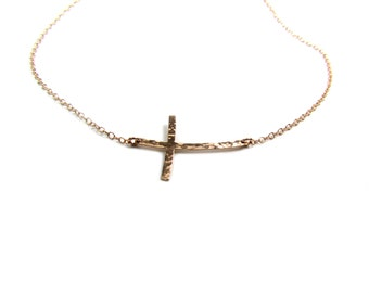 Curved Hammered Sideways Cross Necklace, Curved Sideways Cross Necklace