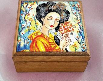 Geisha and Tea painting, geisha box, Japanese woman, Garden Tea, Asian art, keepsake box, jewelry box, 3.5x3.5+
