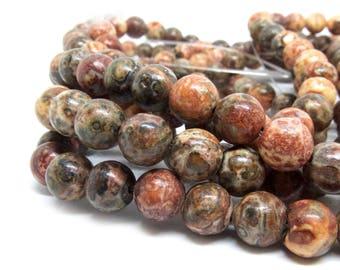 Pierre naturelle Leopardskin perles - 8 mm de diamètre, trou: 1.5 mm