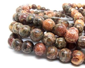 Gemstone Natural Leopardskin Beads - 8mm in diameter, hole: 1.5mm