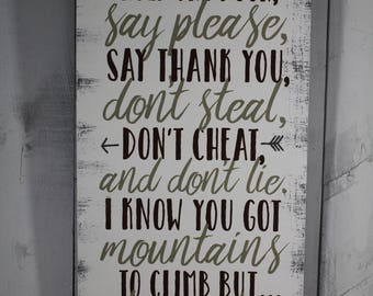 Hold the door/Say Please/Thank you/Don't Steal/Rules to live by/Baby Sign/Child's Decor/Arrow/Wood Sign/Green/Boy's Room