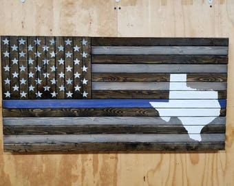 Wooden Rustic Style Thin Line American Flag with Any State Shape