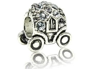 European Bead Large Hole Bead Metal Bead Carriage Bead Thick Bead Silver Rhinestone Fairy Tale Bead
