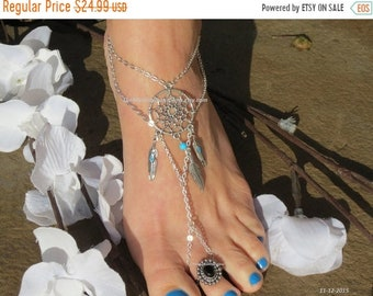 Sale Dream catcher barefoot sandal foot jewelry foot chain body jewelry anklet, silver feather ankle bracelet, barefoot sandals w toe ring