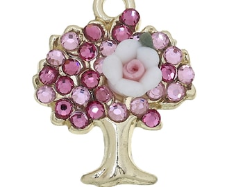 x 1 tree of life charm pendant gold tone and pink rhinestones.